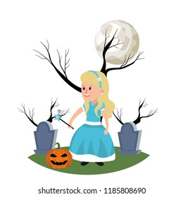 girl with fairy godmother costume and full moon