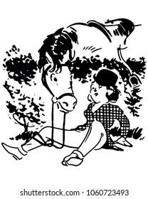 Girl Fallen From Horse - Retro Clip Art Illustration