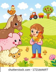 Girl farmer holding a chicken in his hands. Vector illustration with cute pets in cartoon style.
