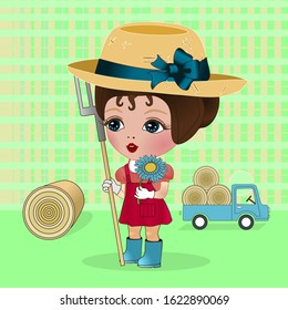 a girl farmer yellow hat and blue boots stands near a sheaf of hay and holds a pitchfork in her hand, in the background a truck laden with straw rolls