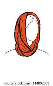 Girl fashion. Neckerchiefs tied.  Woman wearing scarf. Snood.