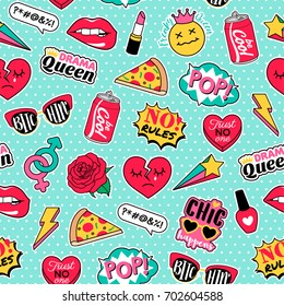 Girl fashion patches seamless pattern background