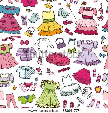 62bba3832739 Girl Fashion Wear Seamless Pattern Babyteenage Holiday Stock Vector ...