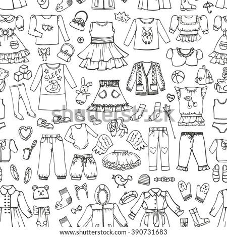 87baec77ba71 Girl Fashion Wear Seamless Pattern Babyteenager ...