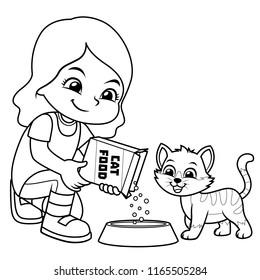 Girl Feeding Her Pet Cat BW.