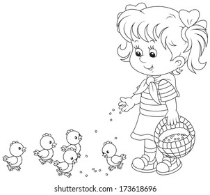 girl feeds a brood of small chickens