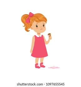 Girl feeling unhappy with ice cream drop vector Illustration on a white background