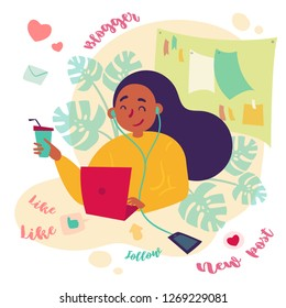 Girl female freelance blogger smm manager working at home or office. Working day of young woman, working as social media expert and writer. Black woman with laptop and coffee. Vector flat illustration