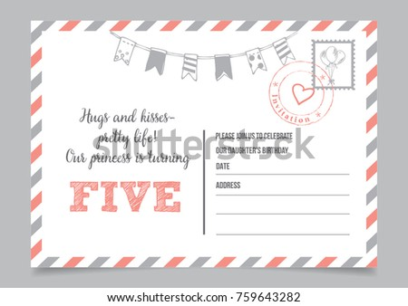 Girl Fifth Birthday Invitation Postcard
