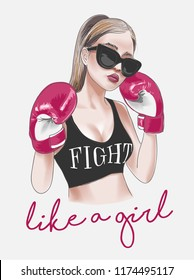 girl fight slogan with boxer girl illustration