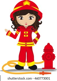 Girl firefighter with fire hydrant and hose