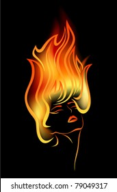 girl with flames in her hair - vector illustration