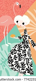 Girl with flamingo and Henri Matisse inspired decoration, vector illustration