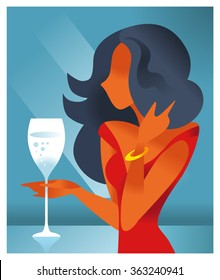 Girl in a flat style with a glass of champagne