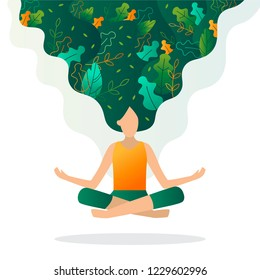 Girl floating in the air in a lotus position. Leaves are woven into her hair. The concept of ecology, environmental protection, environmentally friendly behaviour. Flat vector illustration.