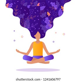 Girl floating in the air in a lotus position. Leaves are woven into her hair. The concept of meditation, self-improvement, ecology, communication with the cosmos. Flat vector illustration.