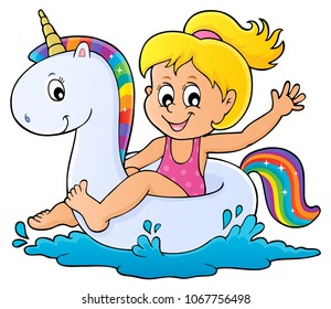 Girl floating on inflatable unicorn 1 - eps10 vector illustration.