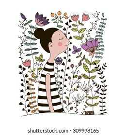 Girl in floral garden.  Hand Drawn vector doodle flowers in black and white.