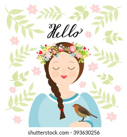 Girl with a flower crown and a robin on a floral background. Spring greeting card, vector illustration