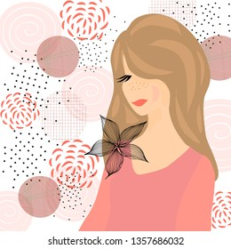 Girl with flower, flat style, coral color, abstract elements, flowers, vector illustration