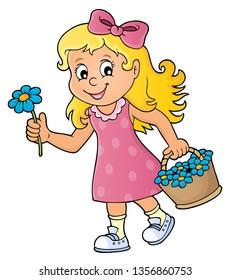 Girl with flower theme image 1 - eps10 vector illustration.
