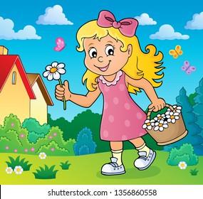 Girl with flower theme image 2 - eps10 vector illustration.