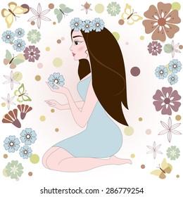 girl with flower. Vector illustration.