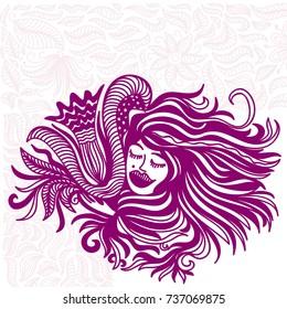 Girl and flower. Vector illustration.