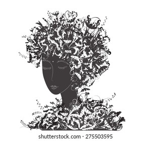 girl with flowers hair covered ornaments, flora,black and white, renew hair, herbal shampoo, vector