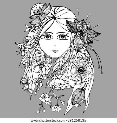 Girl Flowers Her Hair Portrait Girl Stock Vector Royalty Free