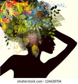 Girl with flowers on her head
