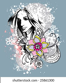 Girl and flowers. Print for T-shirt