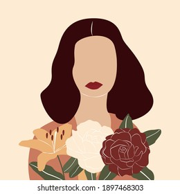 Girl with flowers. Spring illustration in trendy modern style. Abstract woman clip art. Minimal vector illustration. EPS 10