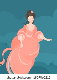 A girl in a fluffy coral dress of the 18-19th century soars in the air. Hair is developing. Cute portrait. Colorful vector illustration in flat cartoon style.