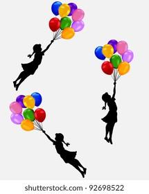 girl flying balloon
