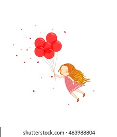 Girl flying with balloons, birthday card, vector illustration