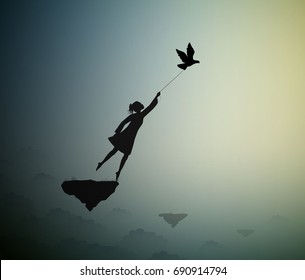 girl is flying and holding pigeons, fly in the dream above the clouds, shadows, life on flying rock, silhouette.
