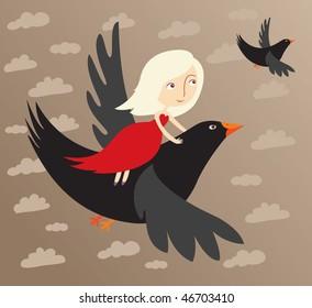 girl flying on a black bird