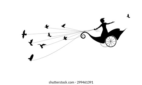 girl is flying on fairy carriage and holding flock of pigeons, fly in the dream land, loose dove, life on flying rock, silhouette on white background