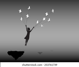 girl is flying rock and holding pigeons on flying rock , fly in the dream, shadows, life on flying rock, silhouette.