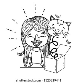 girl with fools day surprise box and cat head