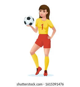 Girl football player isolated on a white background. Beautiful girl football player in sports uniform holds a soccer ball in her hand. Vector  illustration of a cartoon woman soccer.