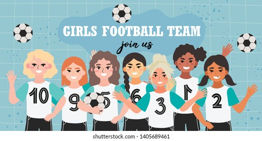 Girl football team banner. Vector illustration of a soccer children team on a blue background. Creative banner, flyer or landing page for a kids football team, club or championship.