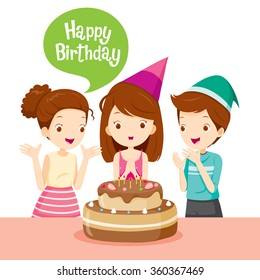 Girl And Friend With Cake On Birthday Party, Banquet, Feast, Celebration, Gift