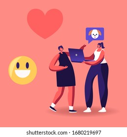 Girl Friend Characters Watching Funny Video about Animals and Dogs on Laptop with Smile Emoji and Heart Icons around. Internet Entertainment, Online Viral Content. Cartoon People Vector Illustration
