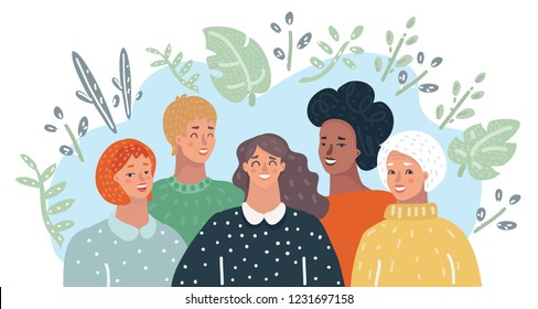 Girl Friendships. Group of woman are smiling. Togetherness Community Concept. Vector cartoon illustration in modern concept