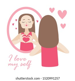 The girl in front of the mirror and kisses  reflection. The heart of the fingers. Cartoon vector on white background