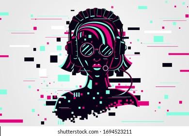 Girl gamer portrait. Video games background, glitch style. Vector illustration. Female online user.