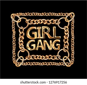 girl gang golden chain lace illustration on black background