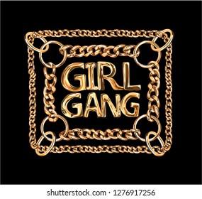 girl gang golden chain lace illustration on black background